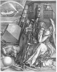 מלנכוליה-I, תחריט נחושת, 1514, מהיצירות המפורסמות ביותר של דירר.